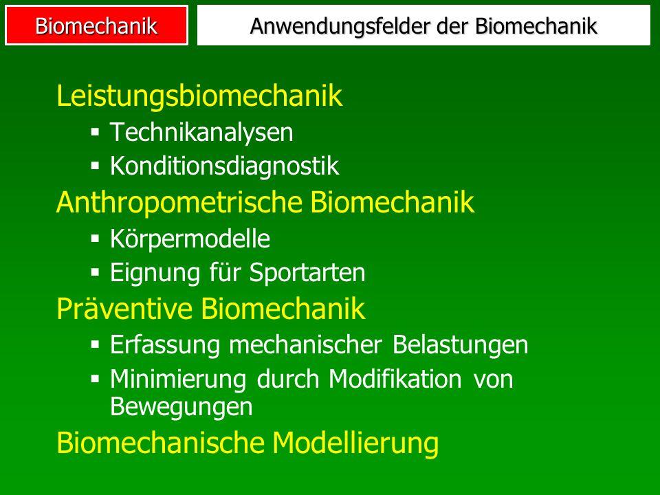 Anwendungsfelder der Biomechanik