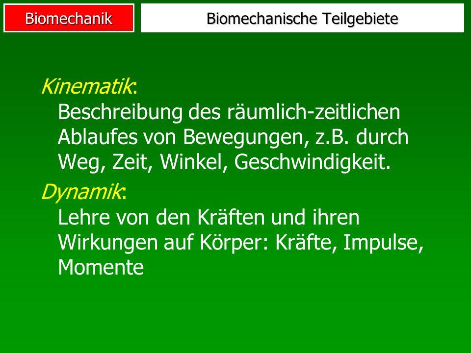 Biomechanische Teilgebiete