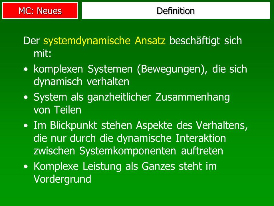 Der systemdynamische Ansatz beschäftigt sich mit: