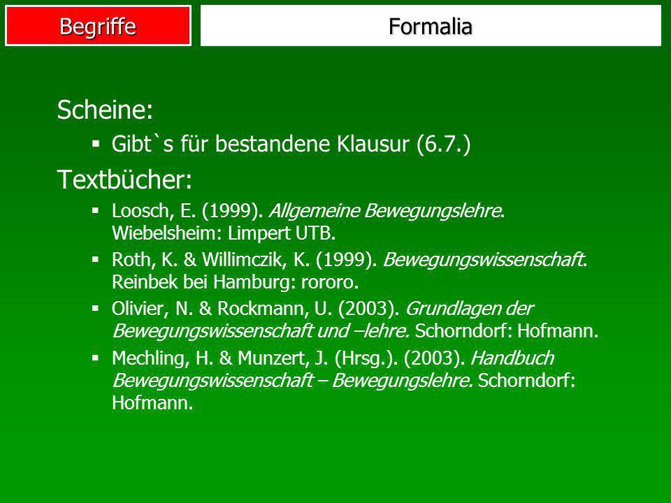 Scheine: Textbücher: Formalia Gibt`s für bestandene Klausur (6.7.)