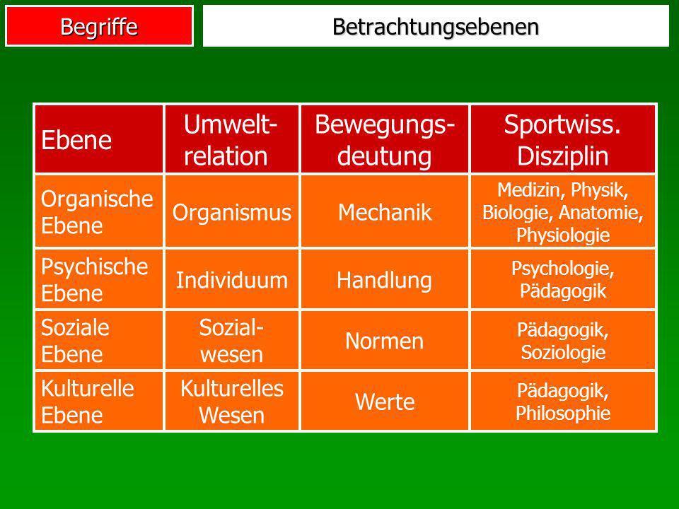 Ebene Umwelt-relation Bewegungs-deutung Sportwiss. Disziplin