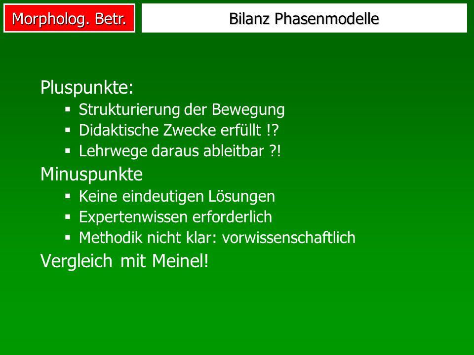 Pluspunkte: Minuspunkte Vergleich mit Meinel! Bilanz Phasenmodelle