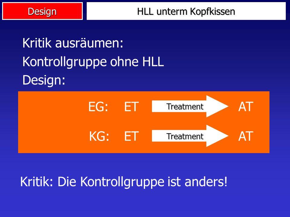 Kontrollgruppe ohne HLL Design:
