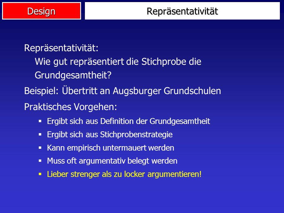 Beispiel: Übertritt an Augsburger Grundschulen Praktisches Vorgehen: