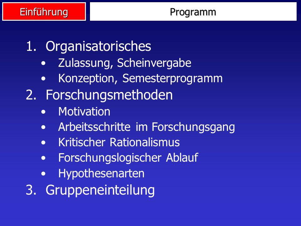 Organisatorisches Forschungsmethoden Gruppeneinteilung