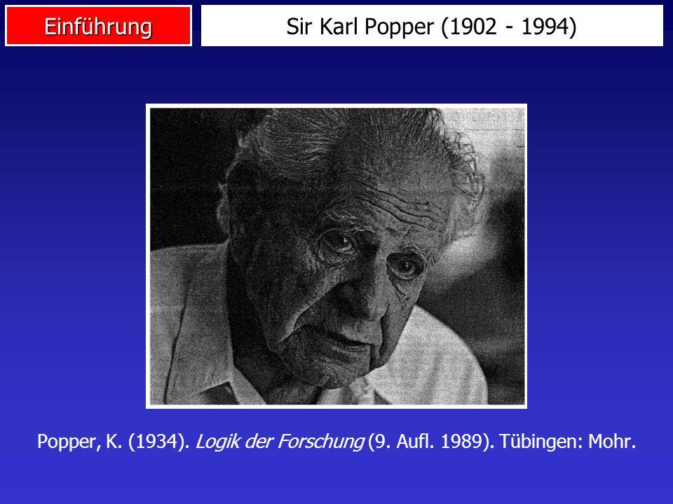 Sir Karl Popper (1902 - 1994) Popper, K. (1934). Logik der Forschung (9.