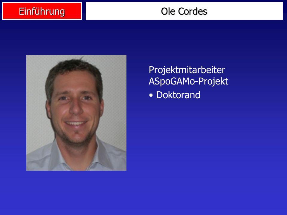 Ole Cordes Projektmitarbeiter ASpoGAMo-Projekt Doktorand