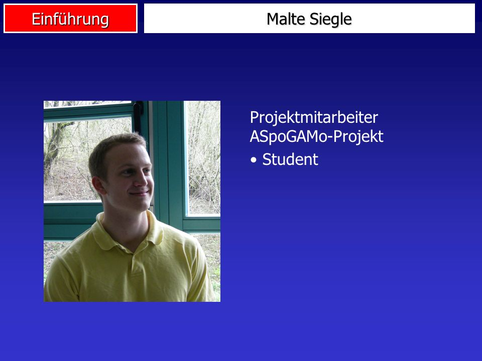 Malte Siegle Projektmitarbeiter ASpoGAMo-Projekt Student