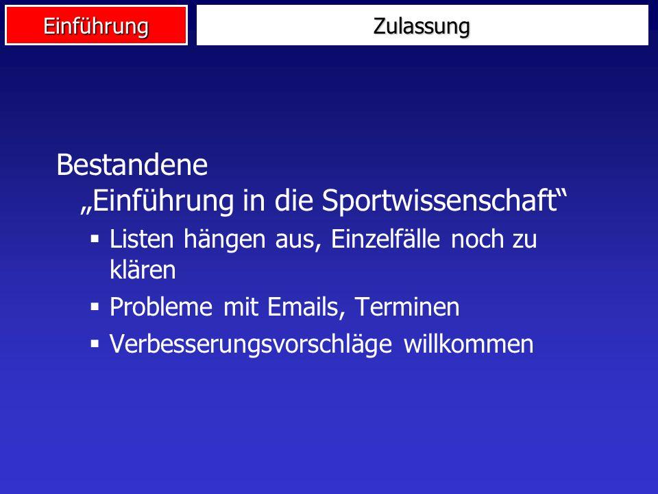 """Bestandene """"Einführung in die Sportwissenschaft"""