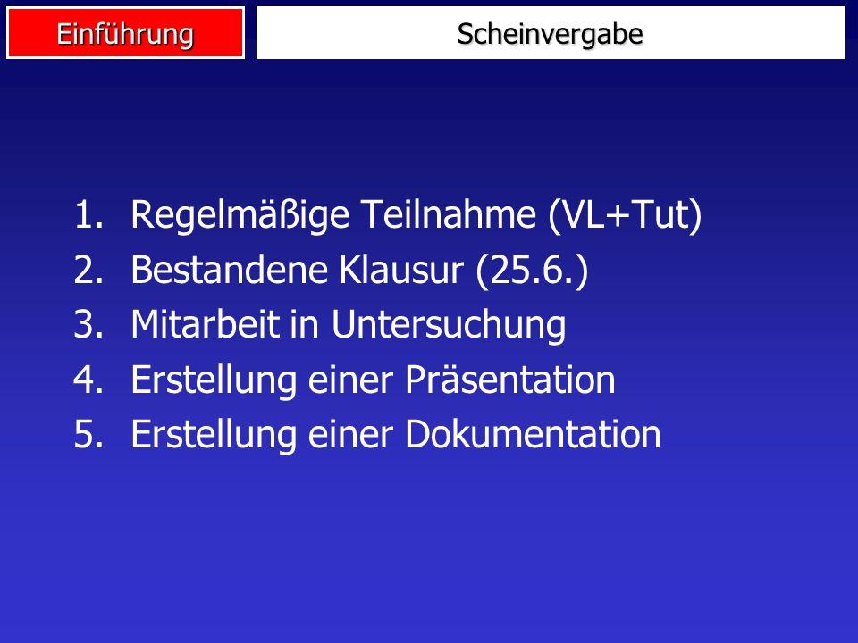 Regelmäßige Teilnahme (VL+Tut) Bestandene Klausur (25.6.)