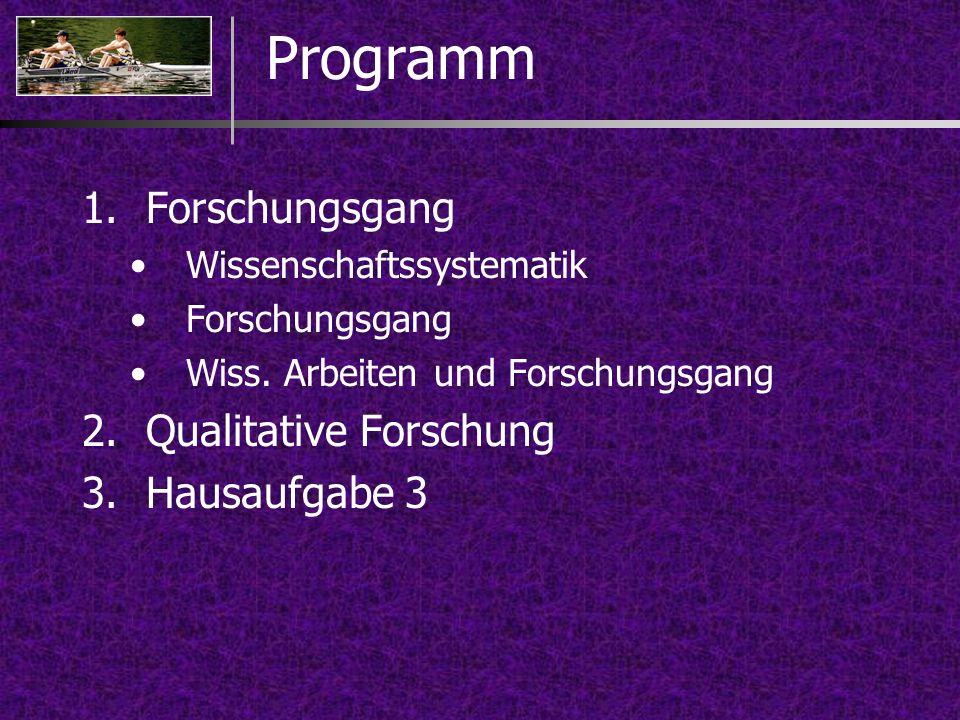 Programm Forschungsgang Qualitative Forschung Hausaufgabe 3