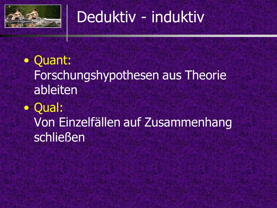 Deduktiv - induktiv Quant: Forschungshypothesen aus Theorie ableiten