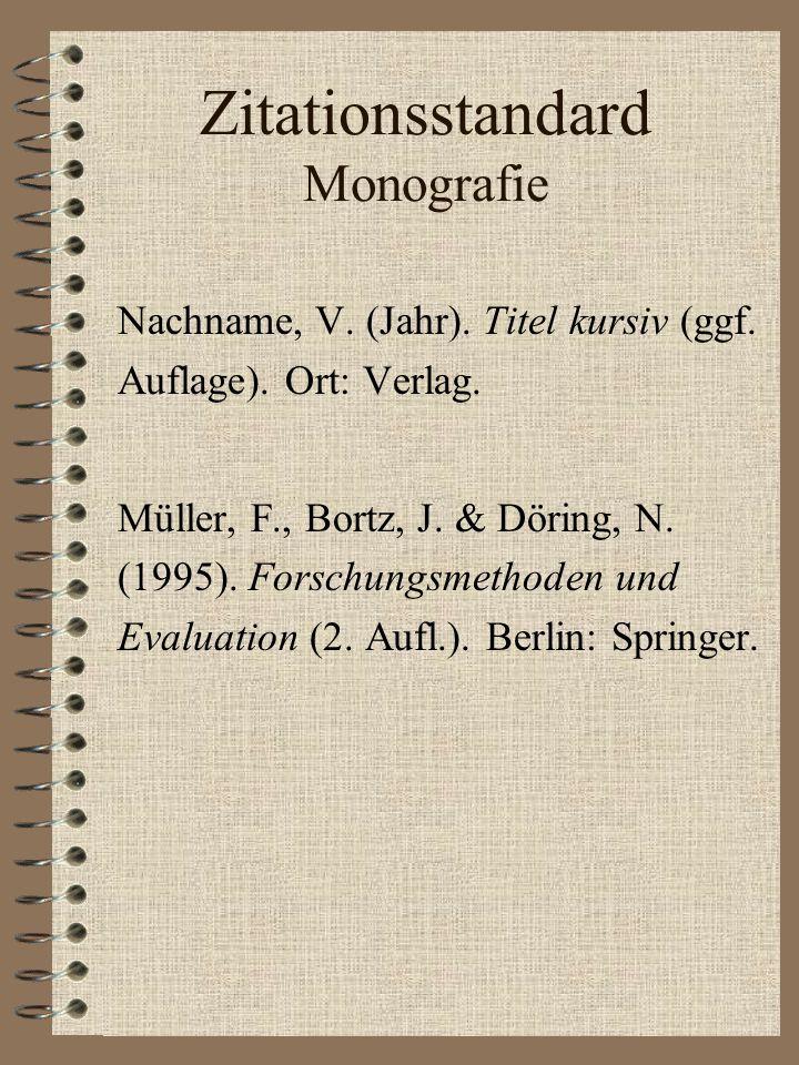 Zitationsstandard Monografie