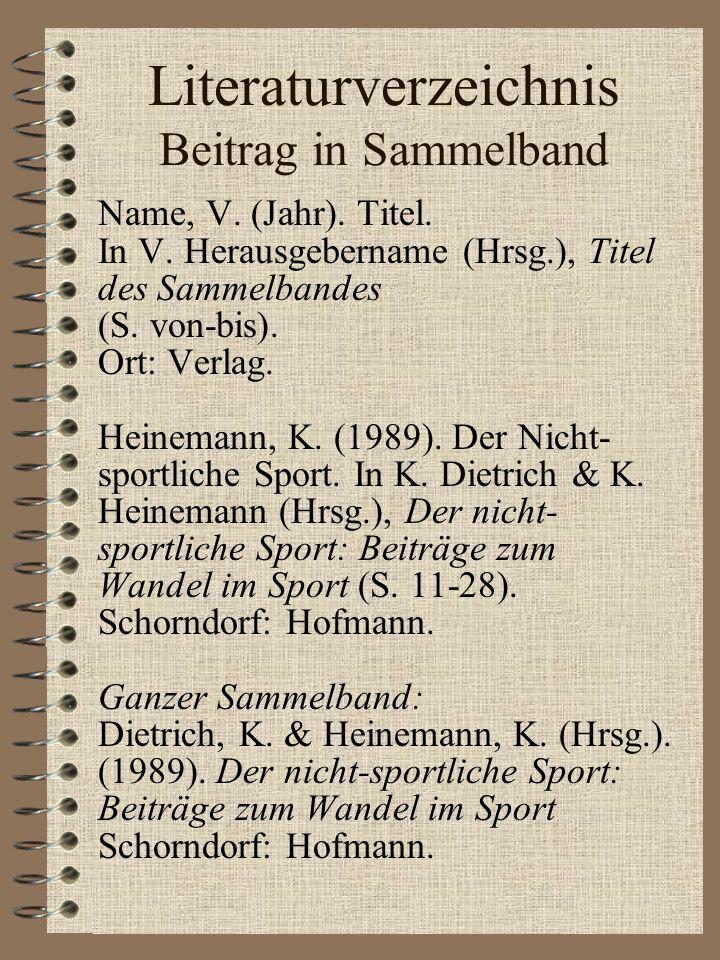 Literaturverzeichnis Beitrag in Sammelband