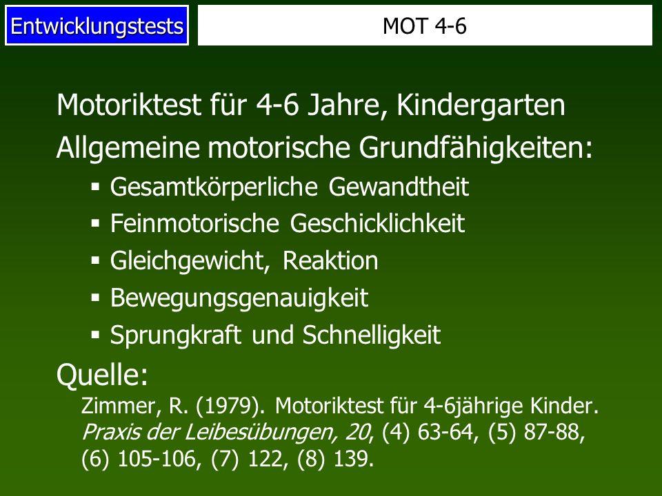 Motoriktest für 4-6 Jahre, Kindergarten