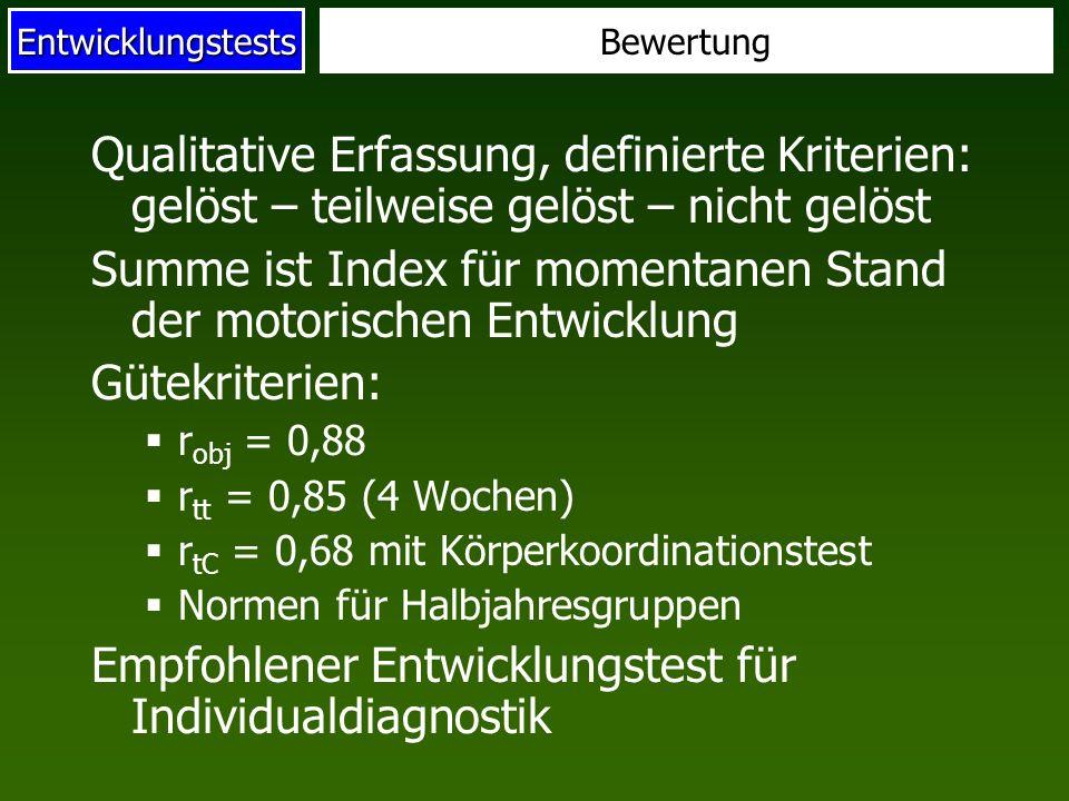 Summe ist Index für momentanen Stand der motorischen Entwicklung