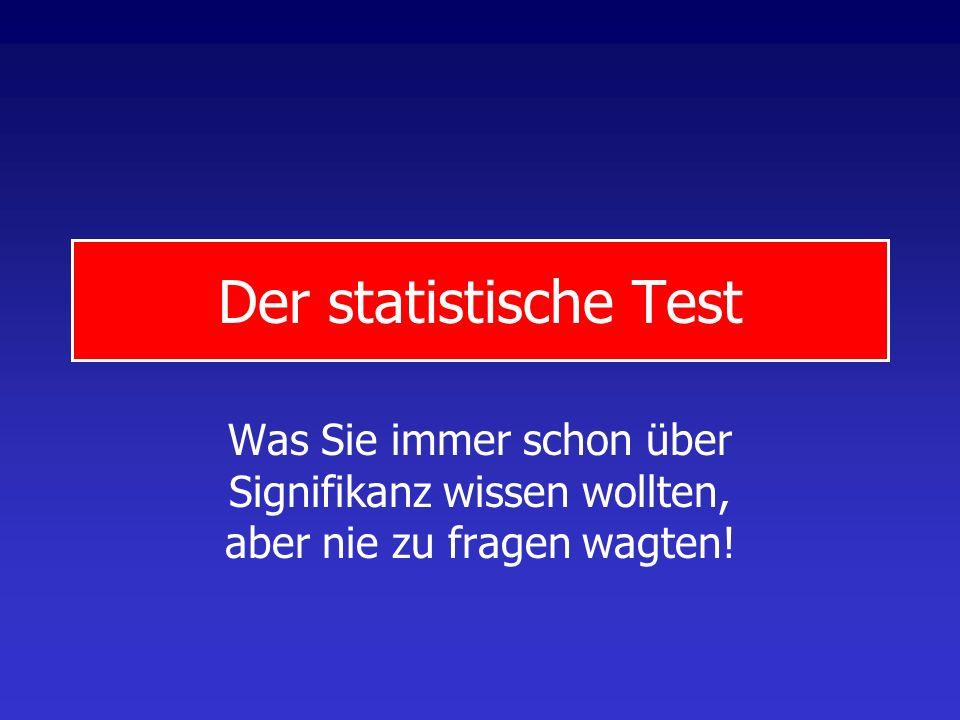 Der statistische TestWas Sie immer schon über Signifikanz wissen wollten, aber nie zu fragen wagten!