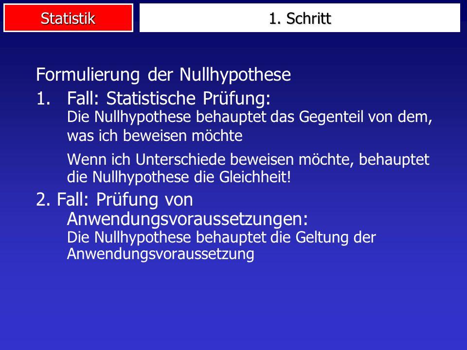 Formulierung der Nullhypothese