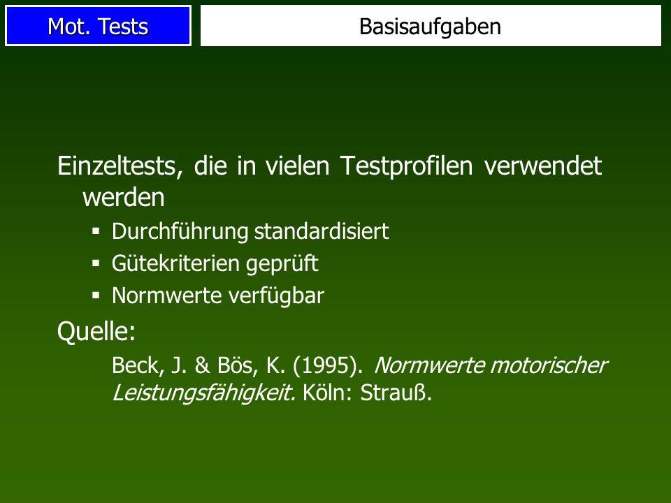 Einzeltests, die in vielen Testprofilen verwendet werden