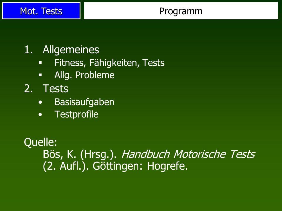 Programm Allgemeines. Fitness, Fähigkeiten, Tests. Allg. Probleme. Tests. Basisaufgaben. Testprofile.