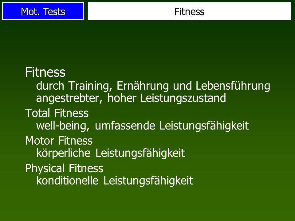 Fitness Fitness durch Training, Ernährung und Lebensführung angestrebter, hoher Leistungszustand.