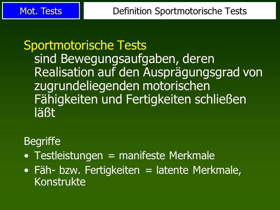 Definition Sportmotorische Tests