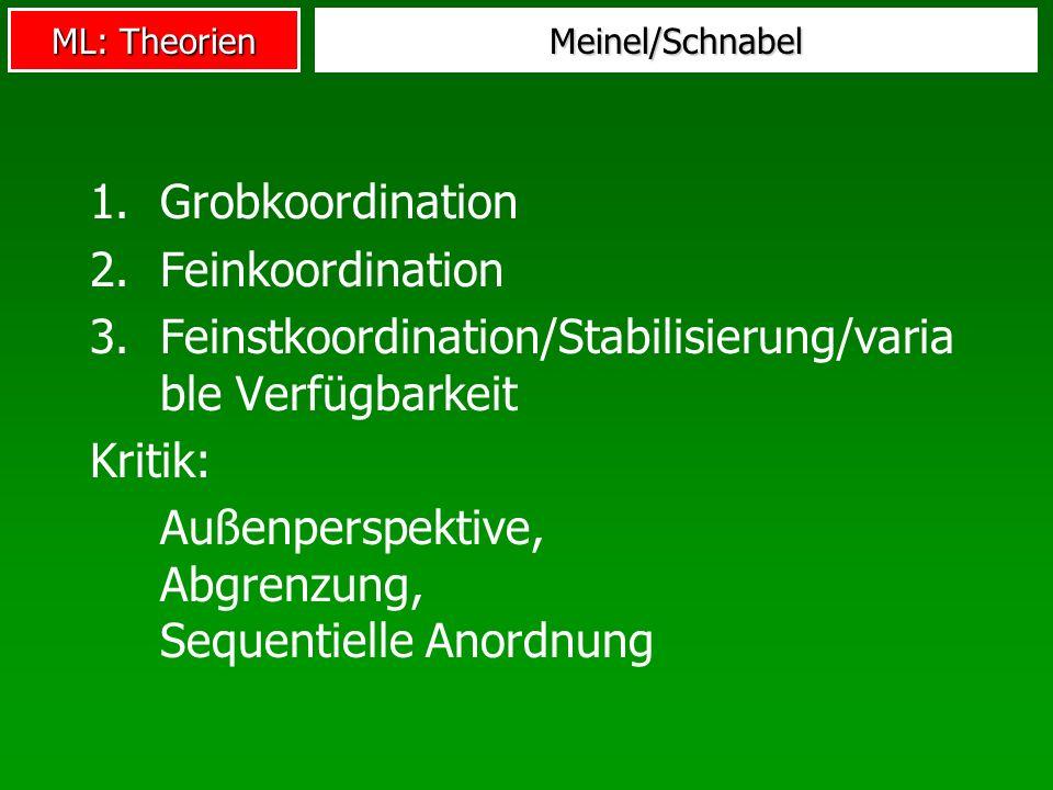 Feinstkoordination/Stabilisierung/variable Verfügbarkeit Kritik: