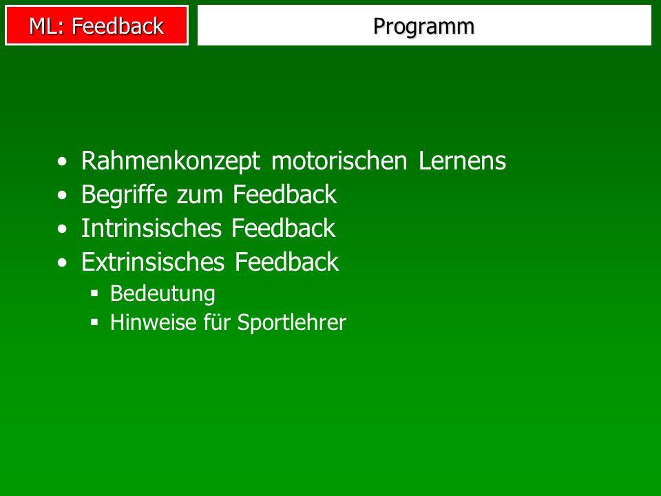 Rahmenkonzept motorischen Lernens Begriffe zum Feedback