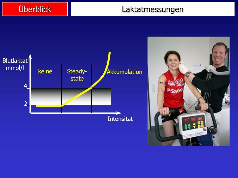 Laktatmessungen 4 2 Blutlaktat mmol/l Intensität keine Steady- state