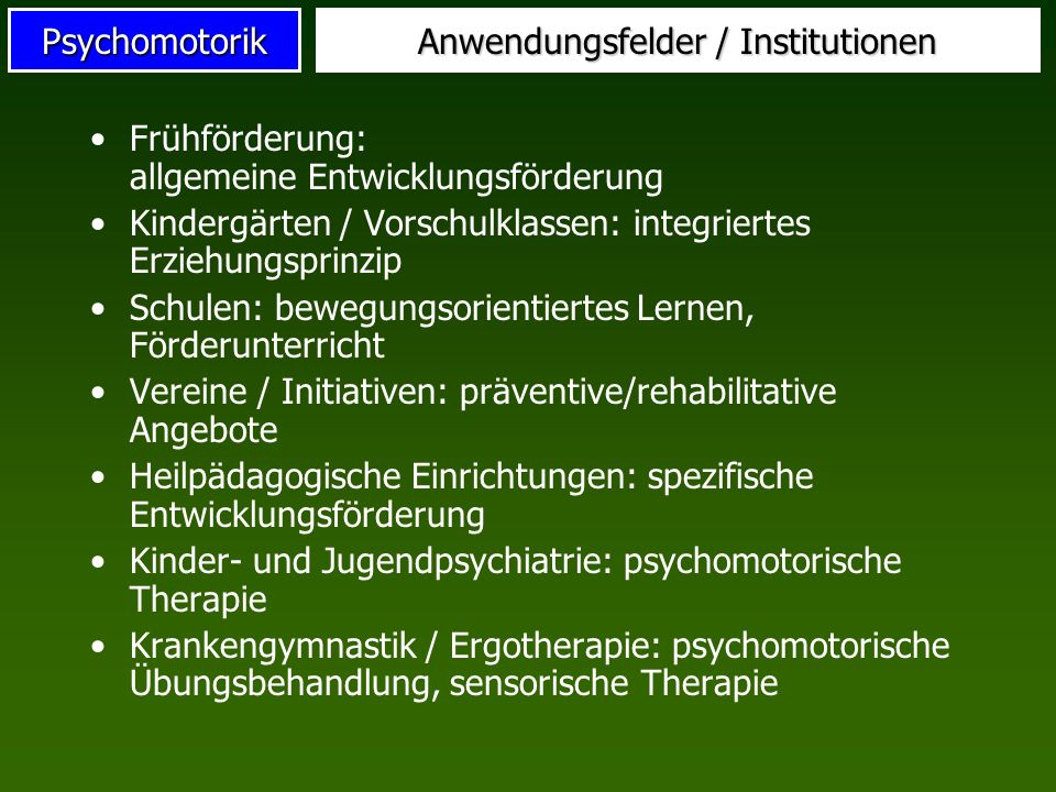 Anwendungsfelder / Institutionen