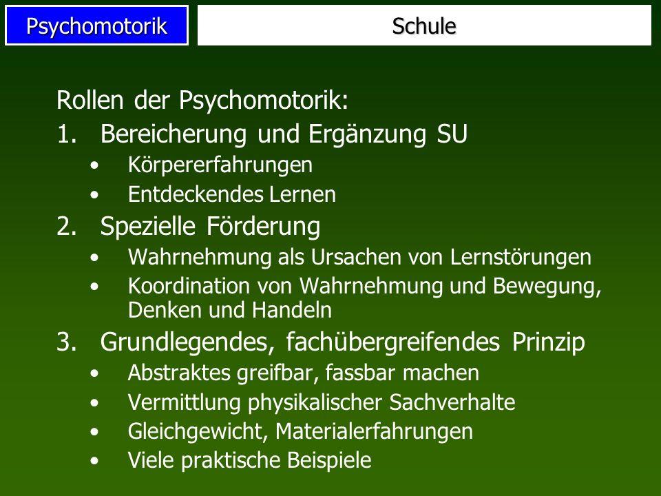 Rollen der Psychomotorik: Bereicherung und Ergänzung SU