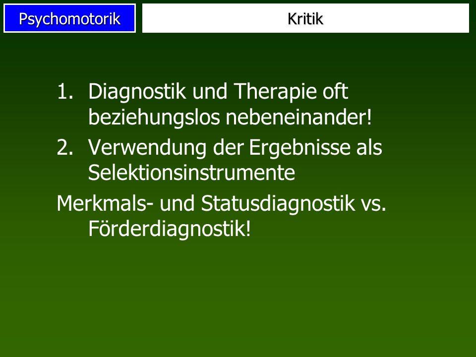 Diagnostik und Therapie oft beziehungslos nebeneinander!