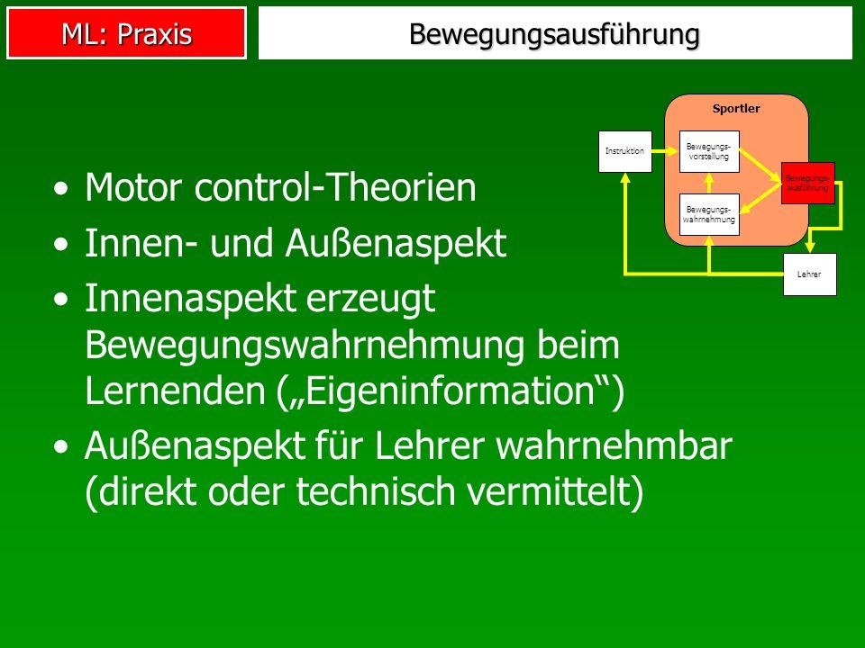 Motor control-Theorien Innen- und Außenaspekt
