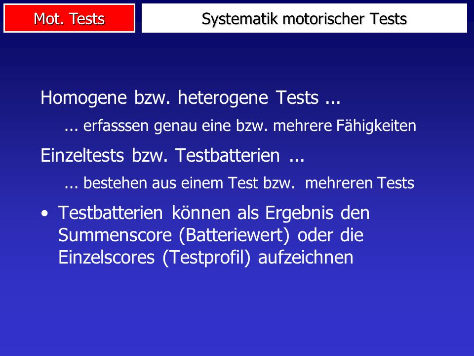 Systematik motorischer Tests