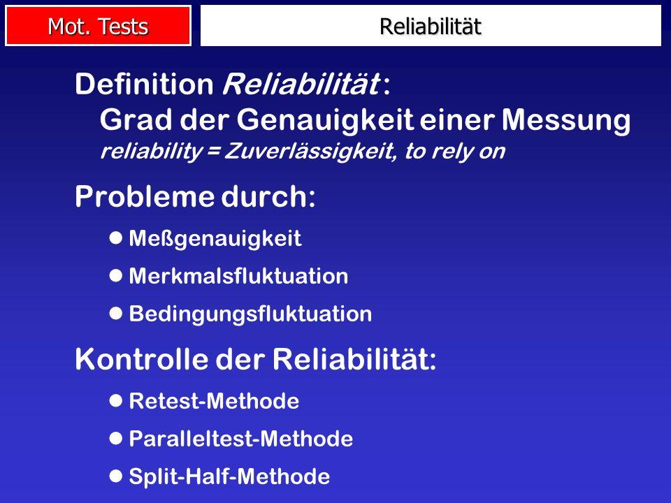 Kontrolle der Reliabilität: