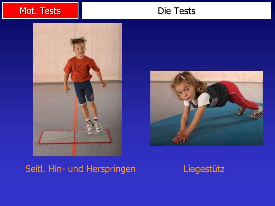 Die Tests Seitl. Hin- und Herspringen Liegestütz