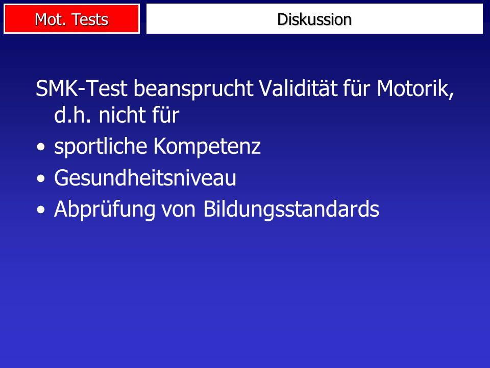 SMK-Test beansprucht Validität für Motorik, d.h. nicht für
