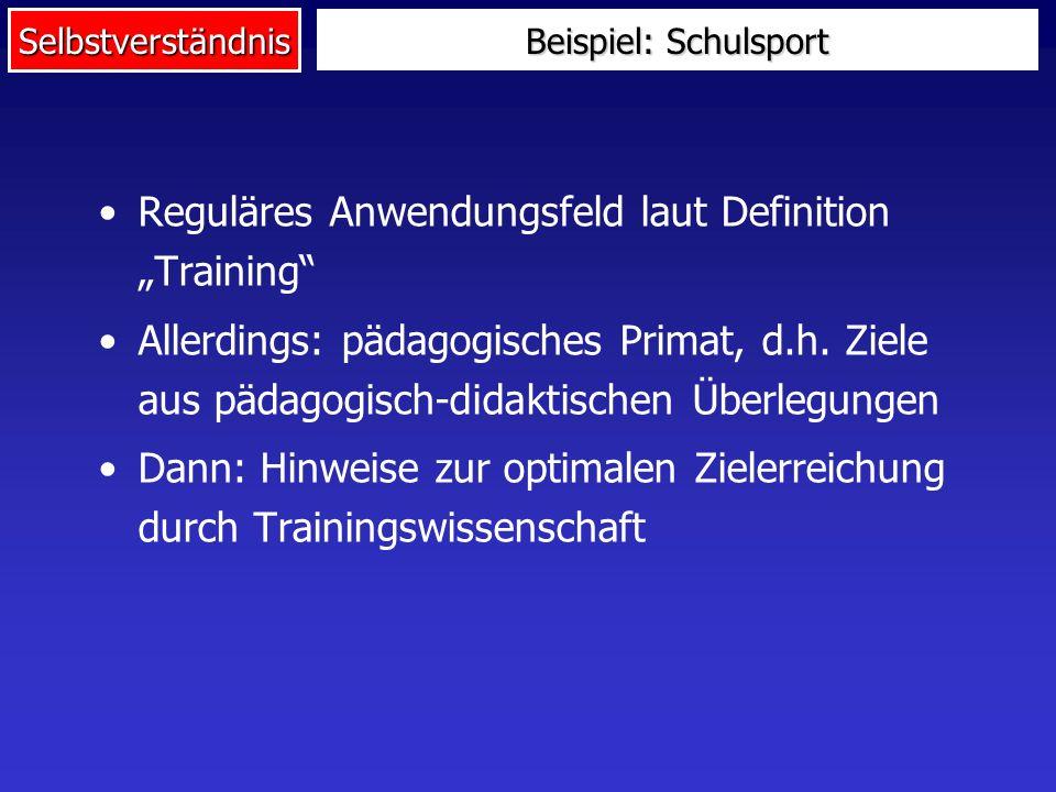 "Reguläres Anwendungsfeld laut Definition ""Training"
