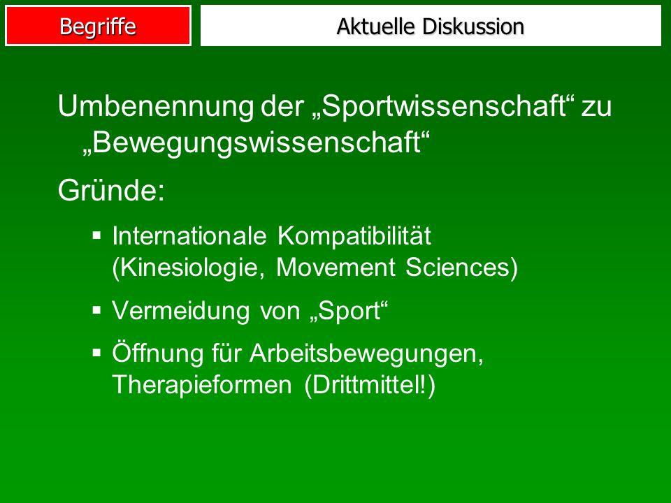 """Umbenennung der """"Sportwissenschaft zu """"Bewegungswissenschaft Gründe:"""