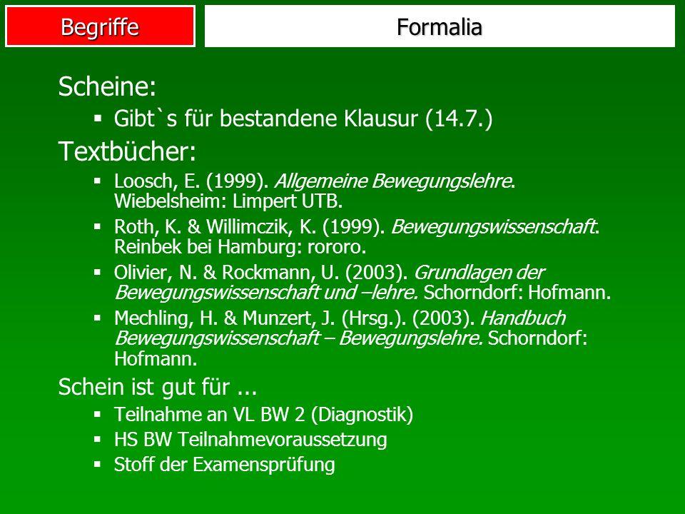 Scheine: Textbücher: Formalia Gibt`s für bestandene Klausur (14.7.)