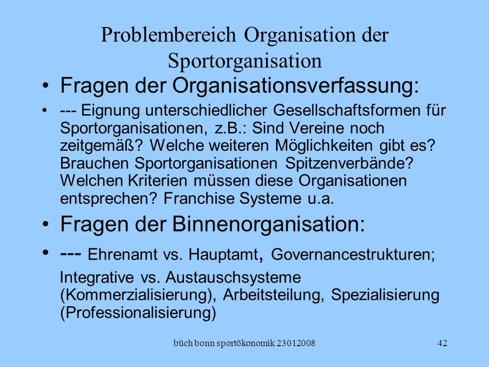 Problembereich Organisation der Sportorganisation
