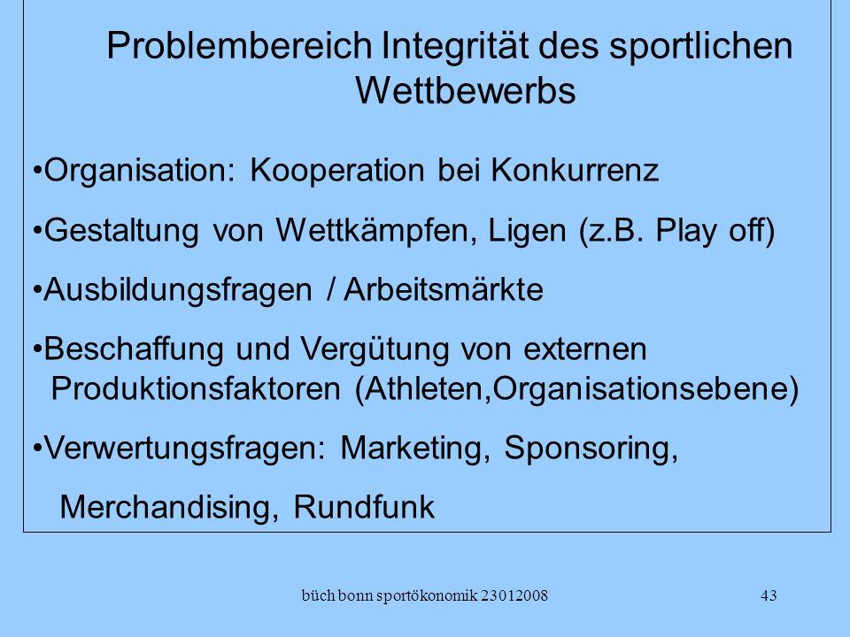 Problembereich Integrität des sportlichen Wettbewerbs