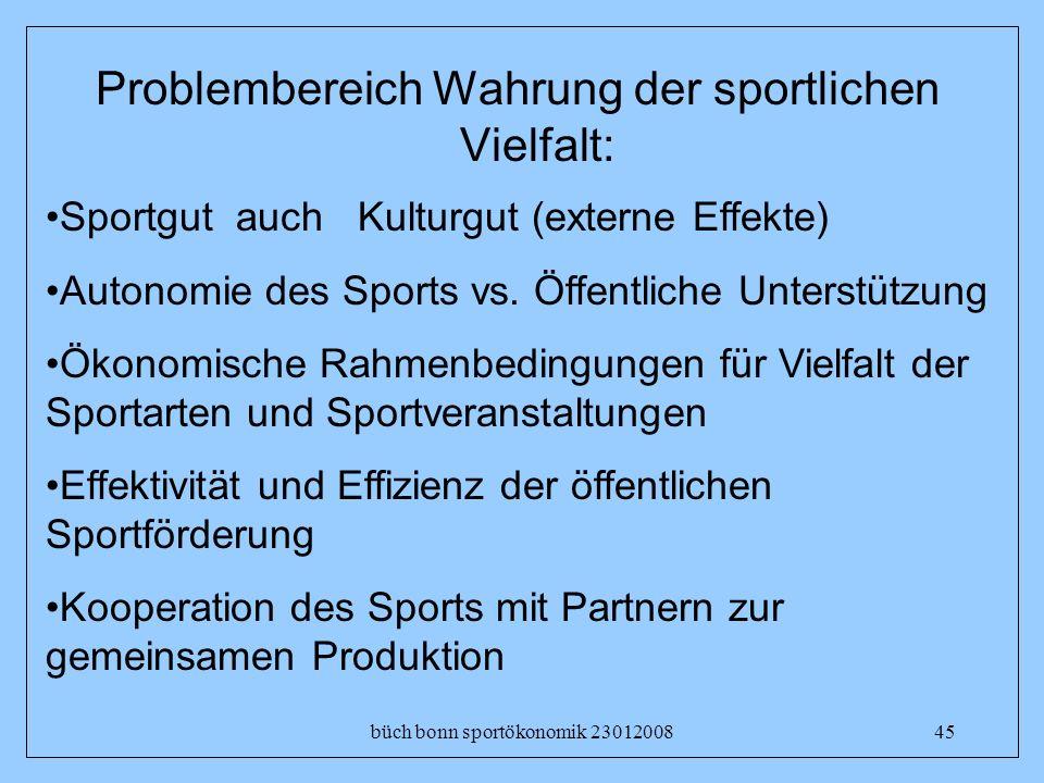 Problembereich Wahrung der sportlichen Vielfalt: