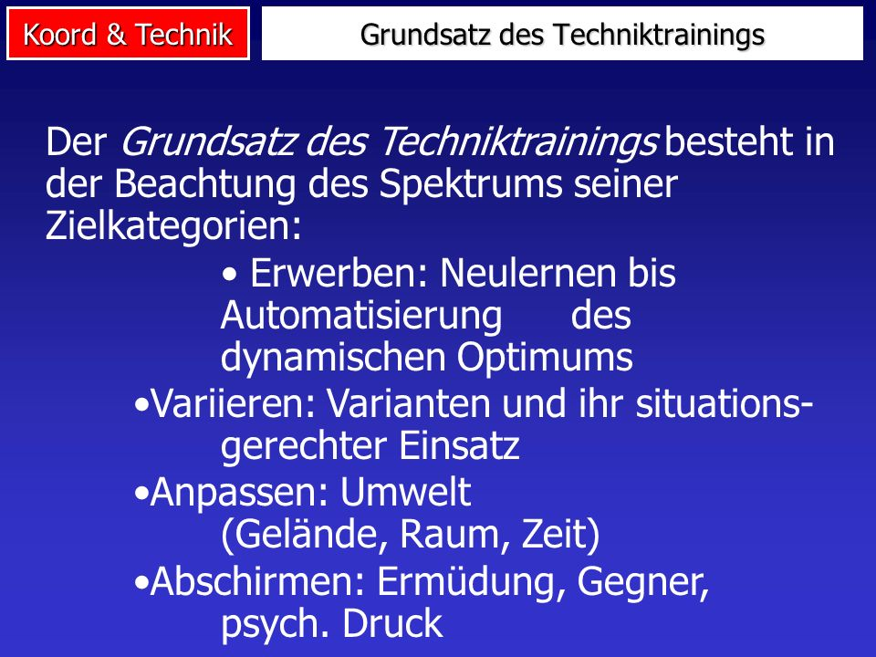 Grundsatz des Techniktrainings