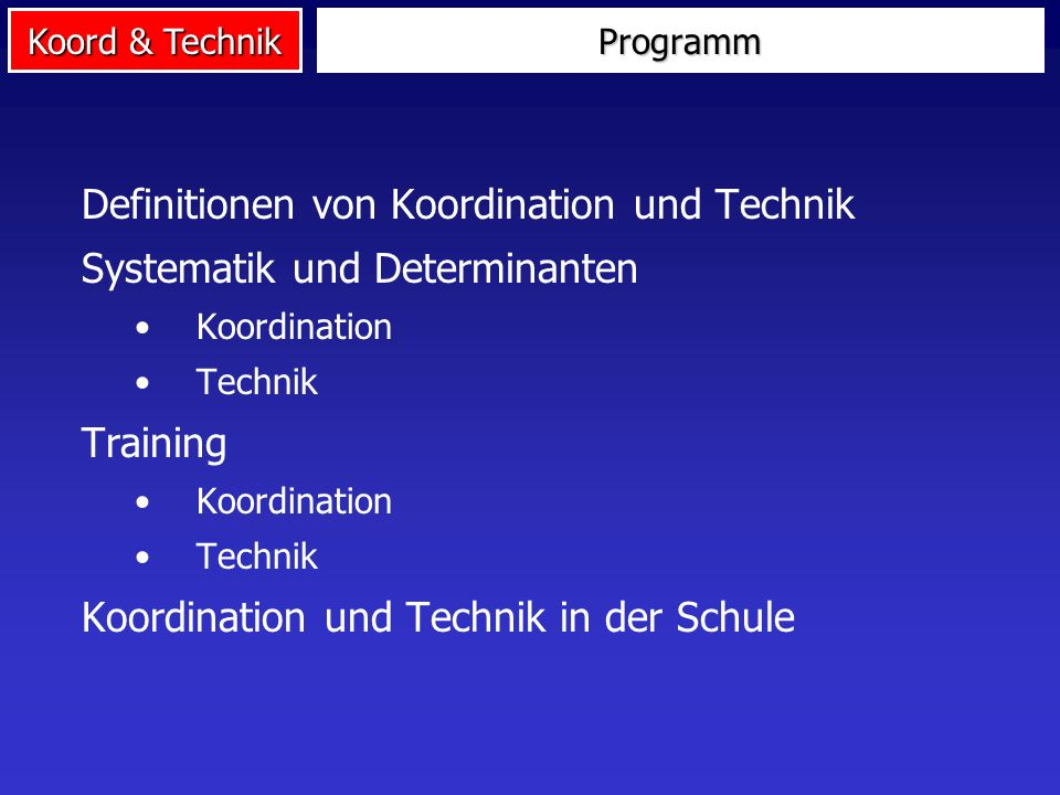 Definitionen von Koordination und Technik Systematik und Determinanten