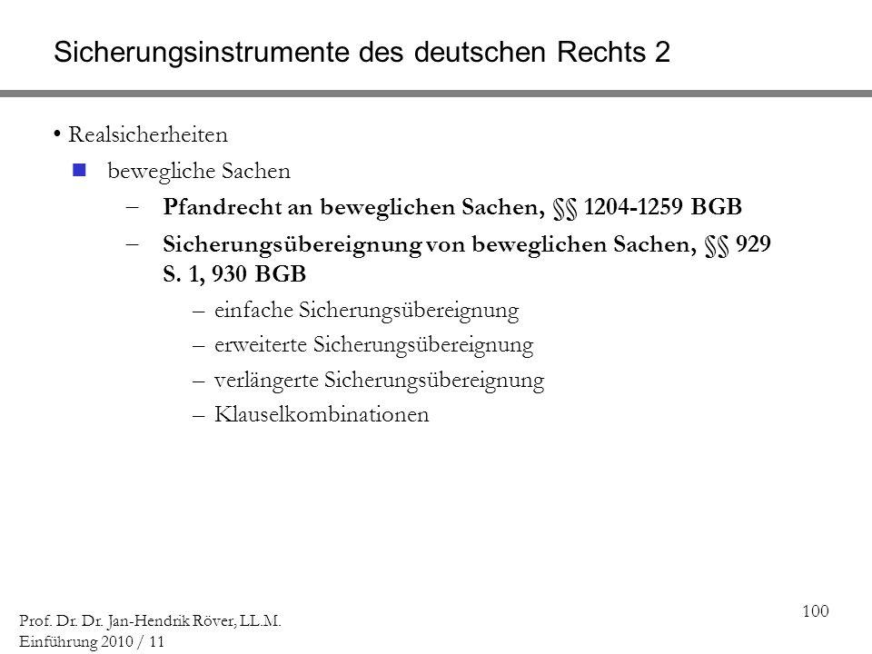 Sicherungsinstrumente des deutschen Rechts 2