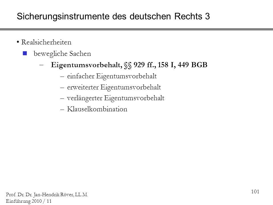 Sicherungsinstrumente des deutschen Rechts 3