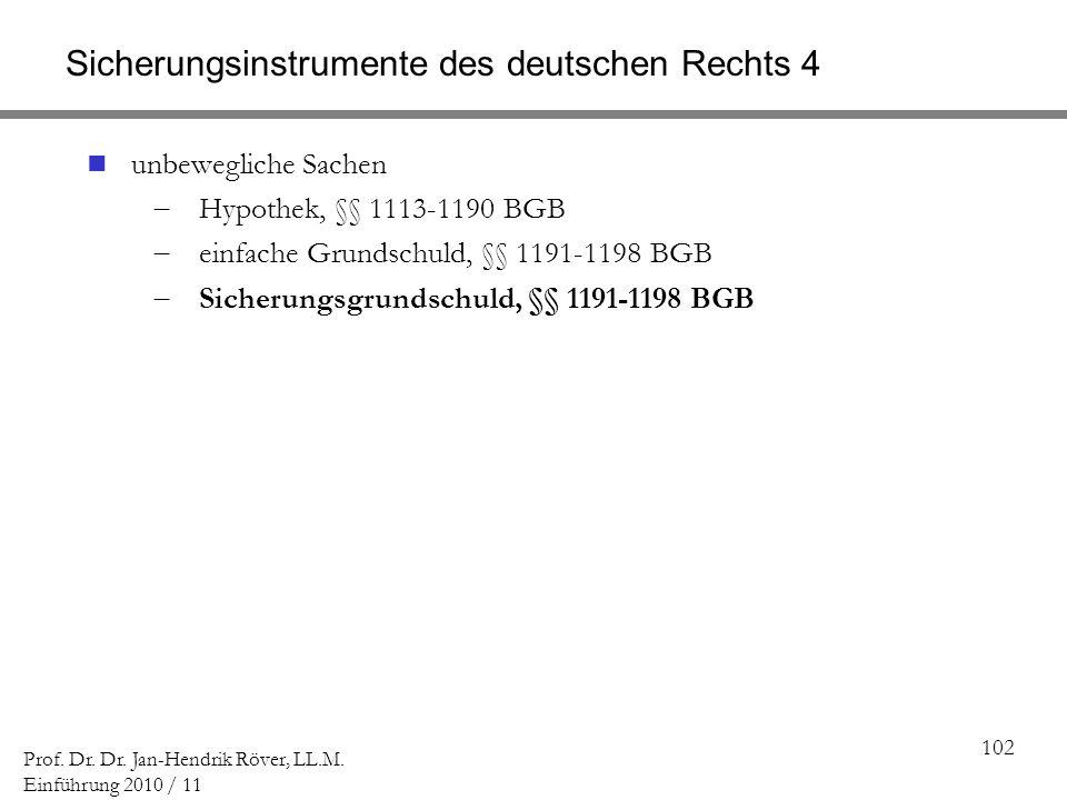 Sicherungsinstrumente des deutschen Rechts 4