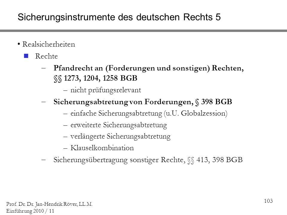 Sicherungsinstrumente des deutschen Rechts 5