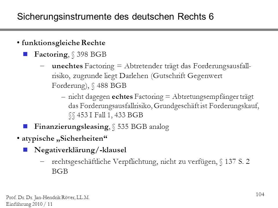 Sicherungsinstrumente des deutschen Rechts 6